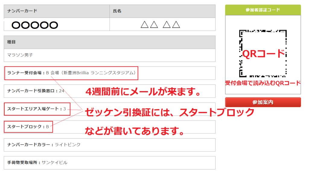 東京マラソンゼッケン引換証とスタートブロックの指定メールの内容