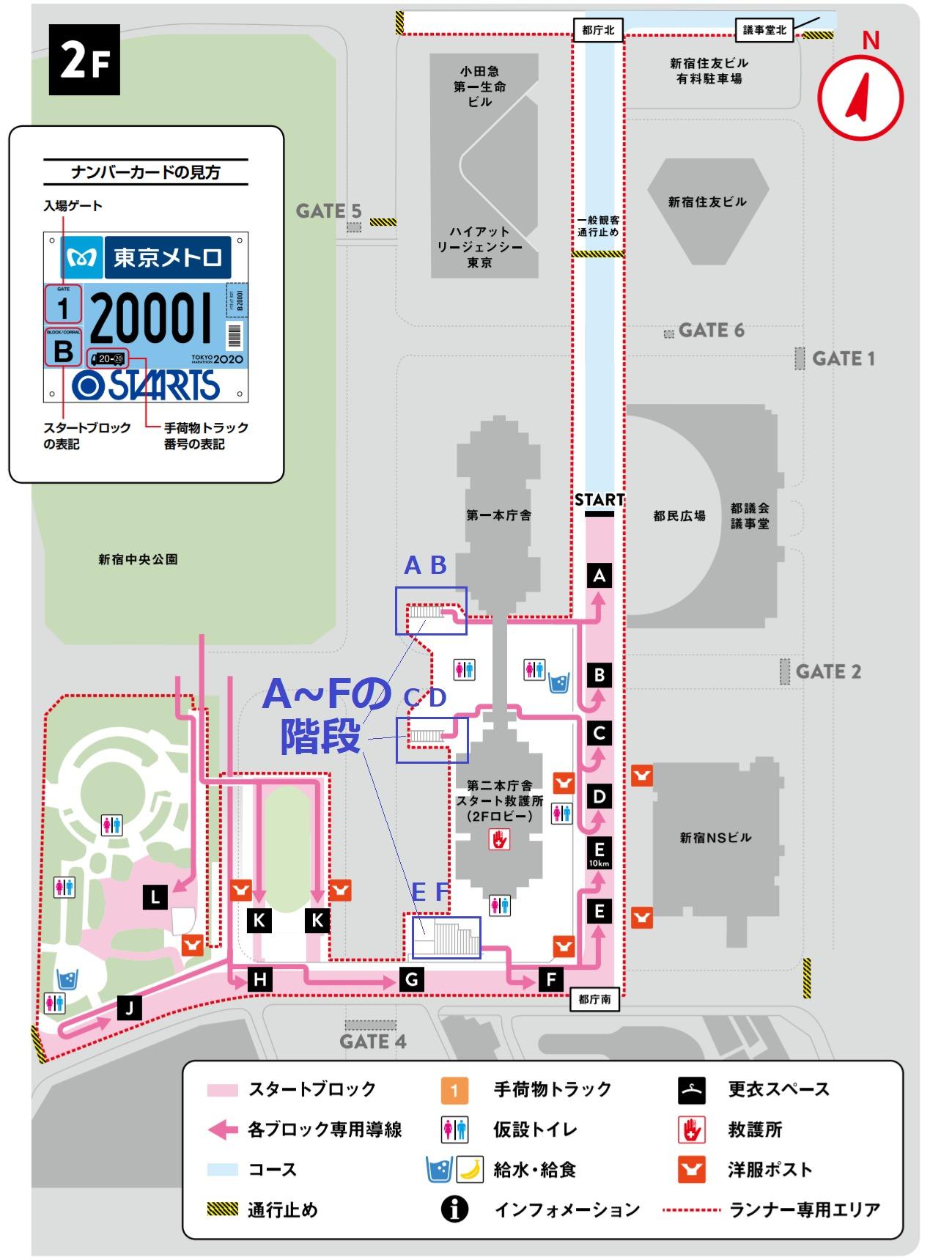 東京マラソンスタート地点 2階詳細(スタートブロック・トイレ・給水・洋服ポスト)