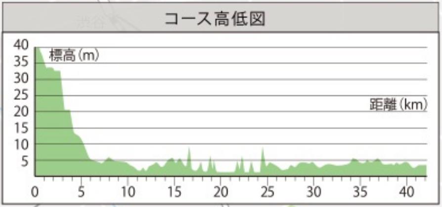 東京マラソン2020高低差マップ