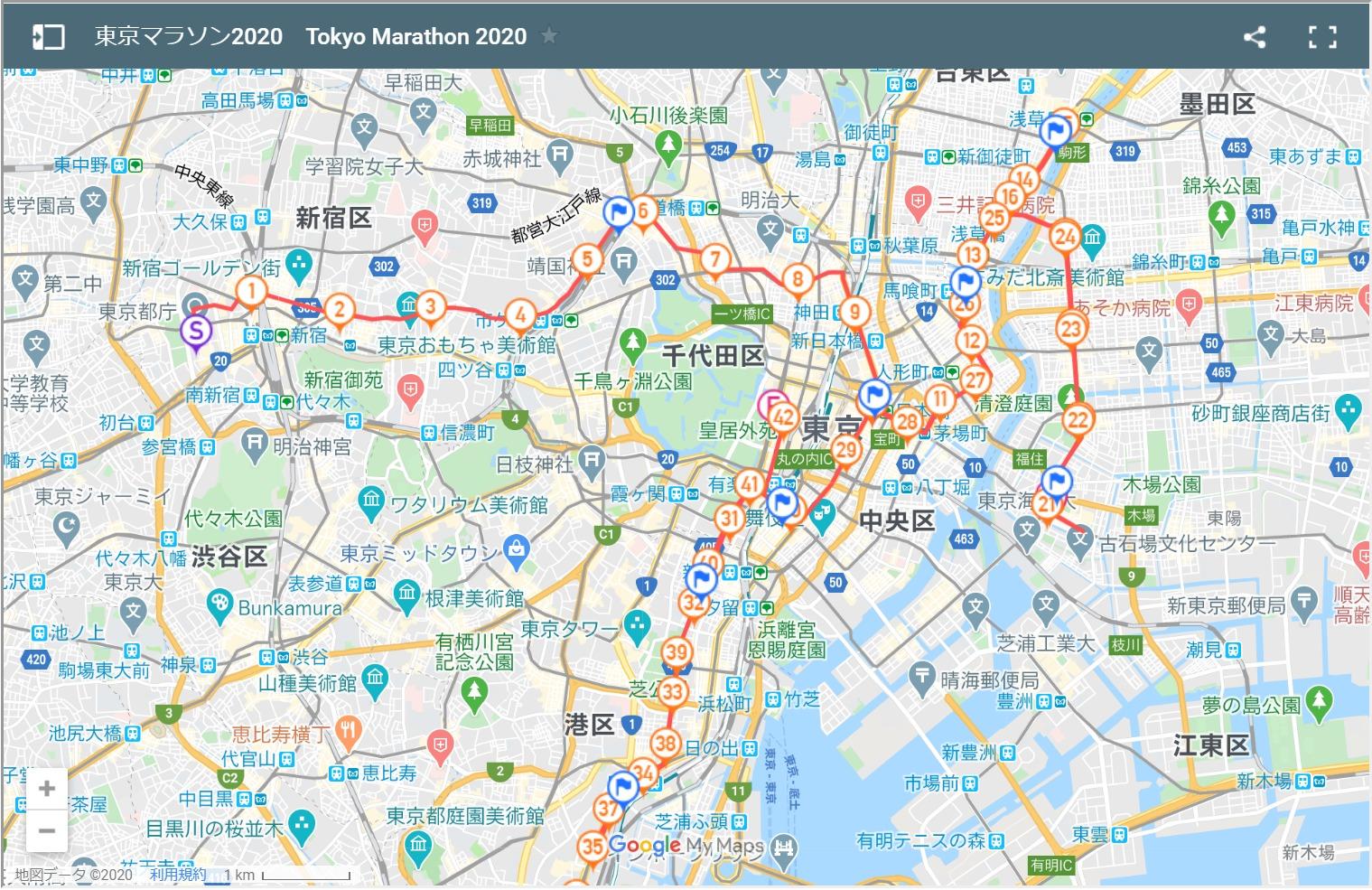 東京マラソン2020コースマップ