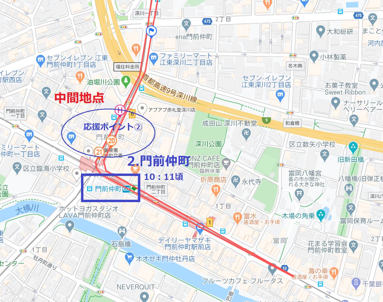 東京マラソントップランナー応援ポイント②門前仲町駅